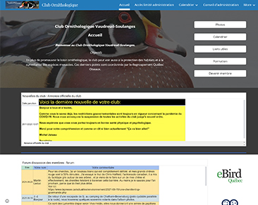 Club ornithologique Vaudreuil-Soulanges website screenshot