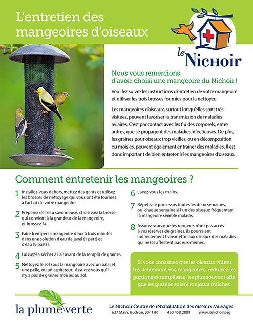 Affiche informative sur l'entretient des mangeoires d'oiseaux