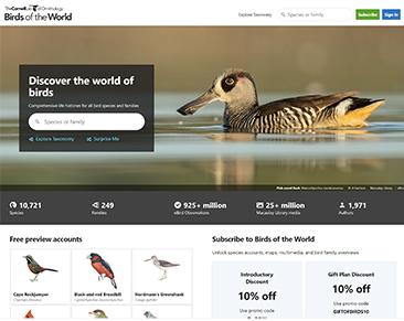 Birds of the World website screenshot