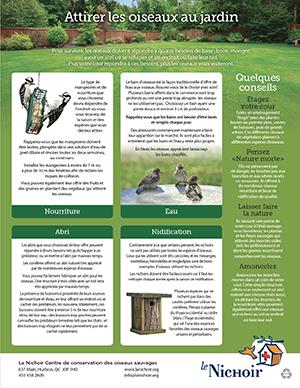 Affiche informative sur comment attirer les oiseaux