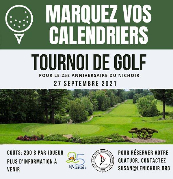 Affiche pour tournois de golf du Nichoir
